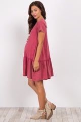 Magenta Lace-Up Back Ruffle Trim Maternity Dress