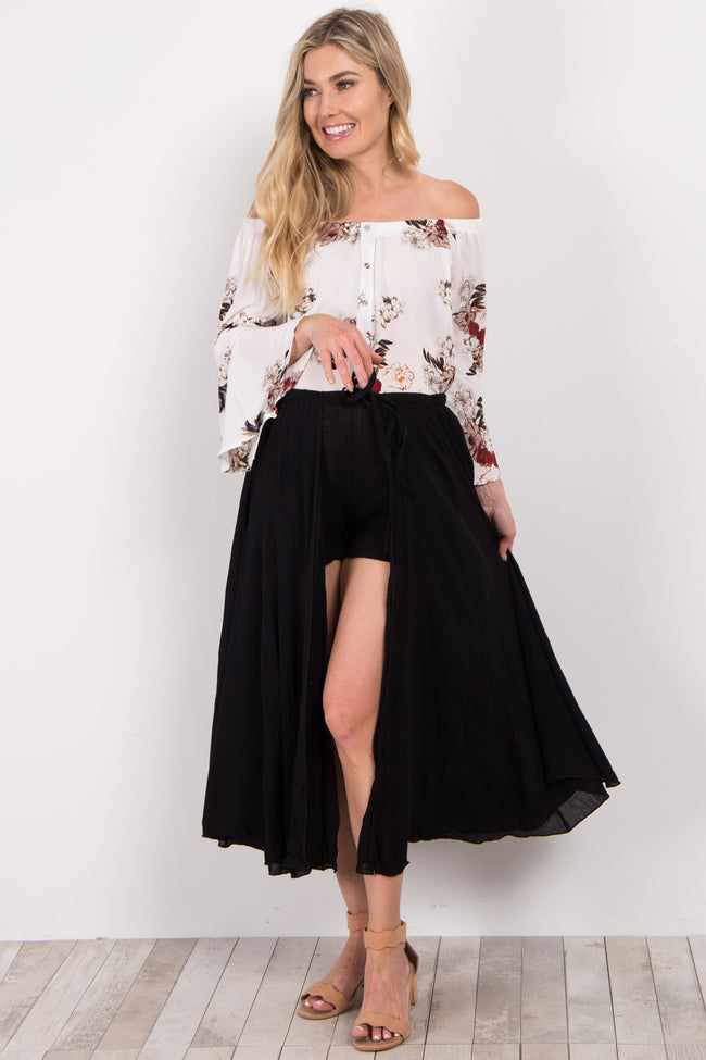 Black Solid Overlay Maternity Shorts