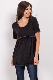 Black Faded Crochet Peplum Top
