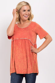 Orange Faded Crochet Peplum Top