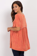 Orange Faded Crochet Peplum Maternity Top