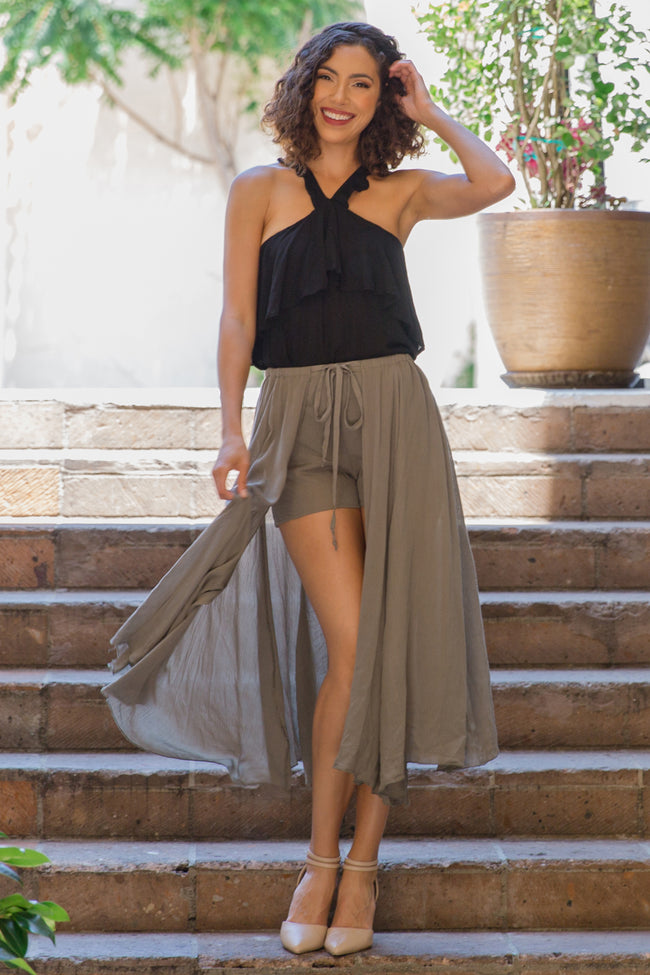 Olive Green Solid Overlay Maternity Shorts