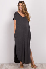 Charcoal Grey Solid Short Sleeve Maternity Maxi Dress