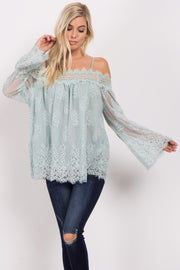 Mint Green Lace Overlay Cold Shoulder Top