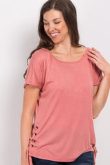 Coral Faded Lace-Up Side Top