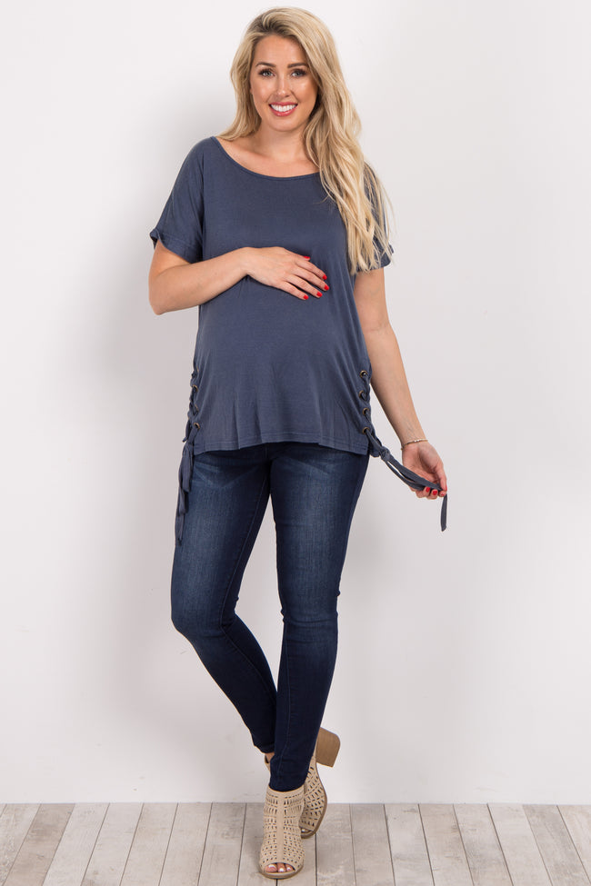 Navy Blue Faded Lace-Up Side Maternity Top