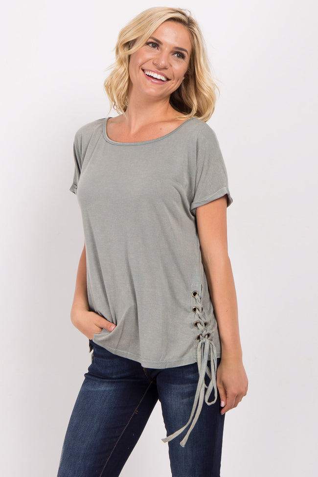 Olive Faded Lace-Up Side Maternity Top