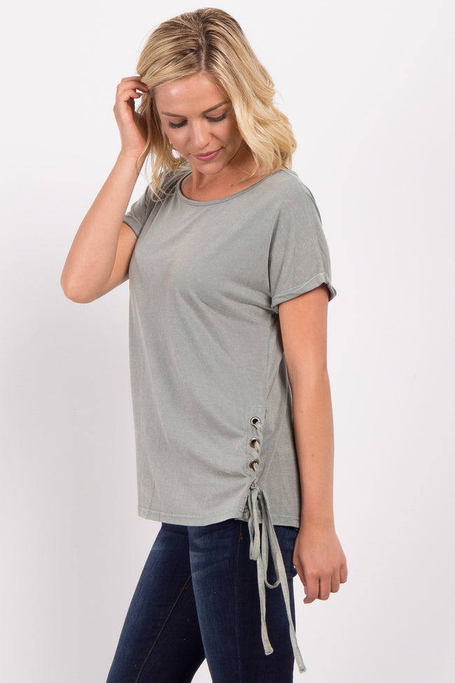 Olive Faded Lace-Up Side Top