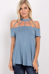 Blue Strappy Choker Neck Cold Shoulder Top