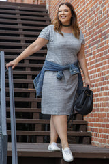 Grey Front Pocket Plus Maternity Dress