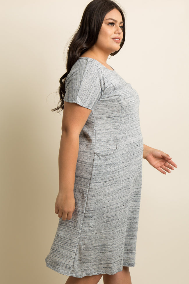 Grey Front Pocket Plus Dress