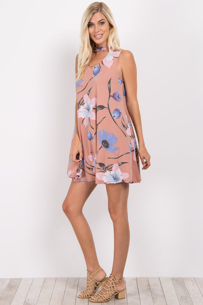 Pink Floral Cutout Mock Neck Dress