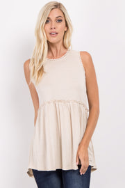 Cream Crochet Sleeveless Peplum Top