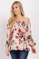 Light Pink Floral Off Shoulder Maternity Top