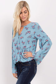 Blue Floral Cutout Wrap Blouse