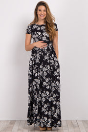 Black Floral Short Sleeve Maternity Maxi Dress