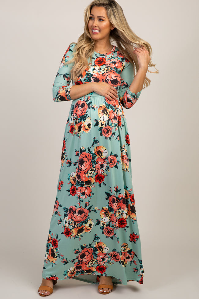 Mint Green Floral 3/4 Sleeve Maternity Maxi