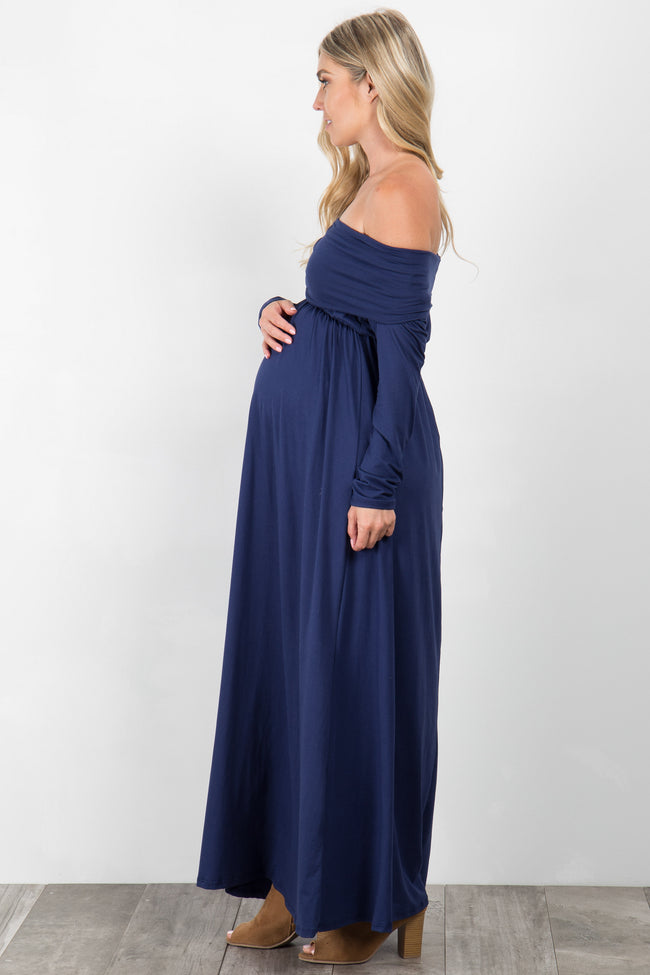 Navy Blue Foldover Off Shoulder Maternity Maxi Dress
