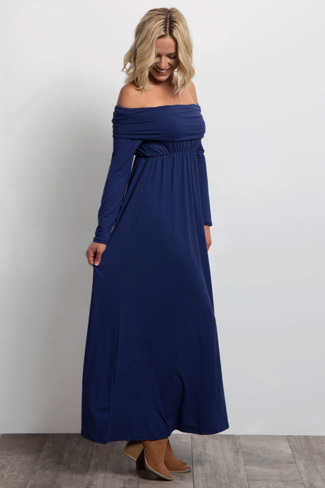 Navy Blue Foldover Off Shoulder Maxi Dress