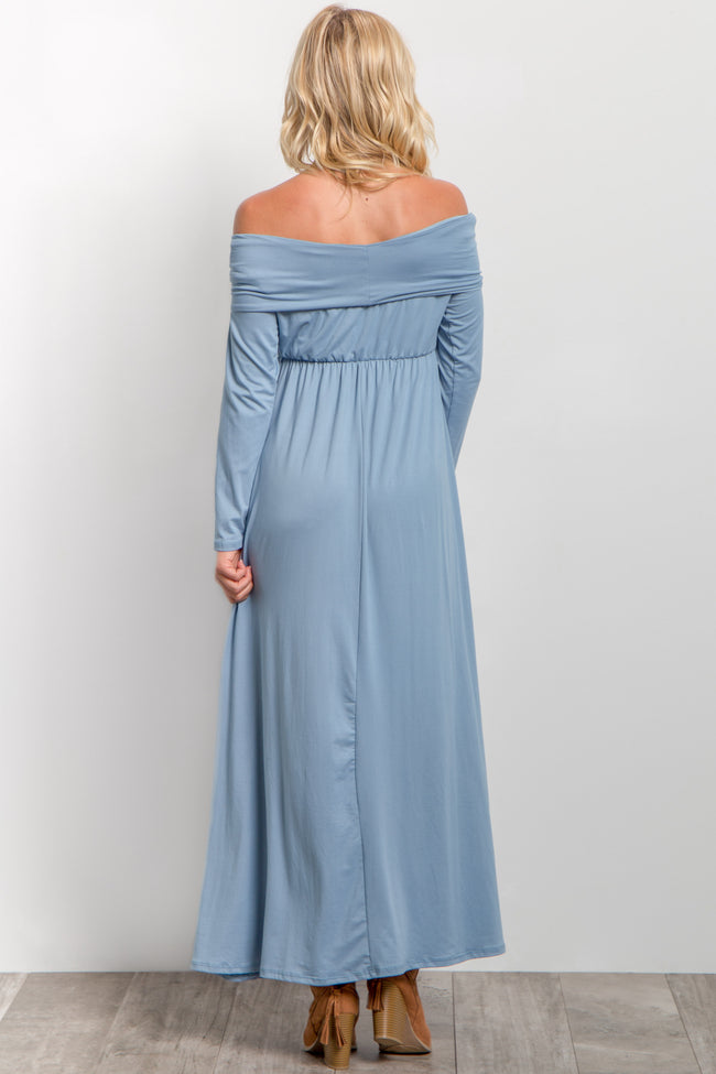 Blue Foldover Off Shoulder Maxi Dress