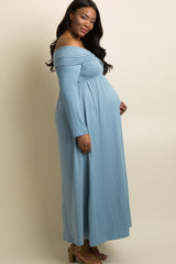 Blue Foldover Off Shoulder Plus Maternity Maxi Dress
