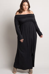 Black Foldover Off Shoulder Plus Maxi Dress
