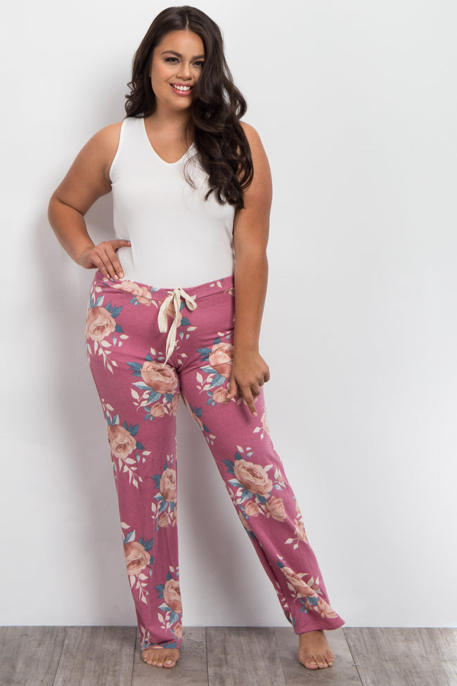 Red Floral Drawstring Plus Maternity Pajama Pants