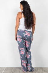 Navy Floral Drawstring Plus Maternity Pajama Pants