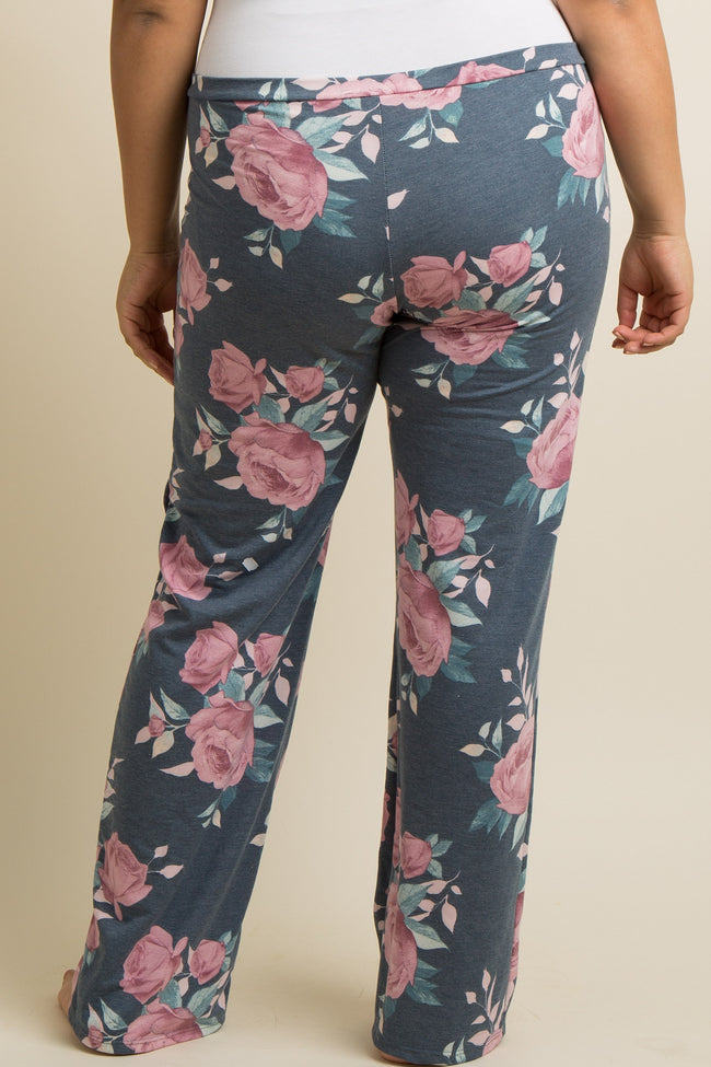 Navy Floral Drawstring Plus Pajama Pants
