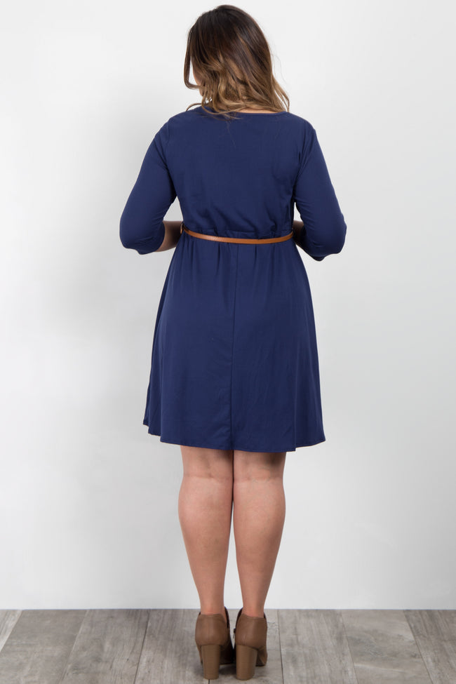 Navy Solid Belted Plus Maternity Dress