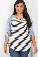 Blue Striped Rose Floral Colorblock Plus Maternity Top
