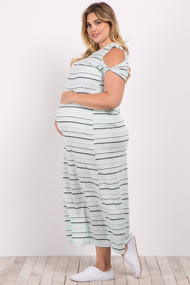 Mint Green Striped Cold Shoulder Plus Maternity Maxi Dress