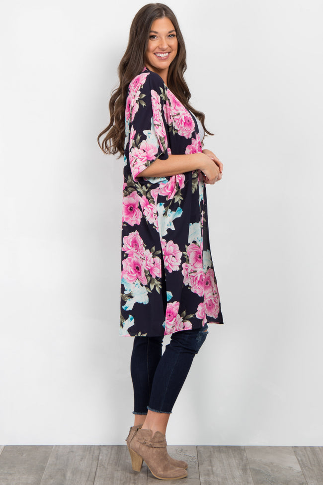 Navy Blue Floral Long Cover Up