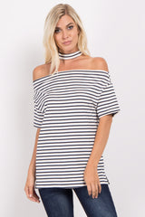 Navy Blue Striped Off Shoulder Choker Neck Maternity Top