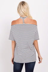 Navy Blue Striped Off Shoulder Choker Neck Top