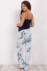 Blue Rose Floral Maternity Pajama Pants