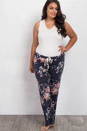 Navy Blue Rose Floral Plus Pajama Pants