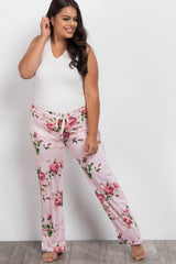 Pink Floral Drawstring Plus Maternity Pajama Pants