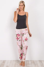 Pink Floral Cuffed Pajama Pants