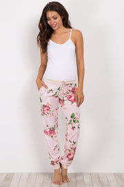 Pink Floral Cuffed Maternity Pajama Pants
