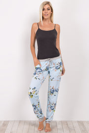 Blue Floral Cuffed Pajama Pants