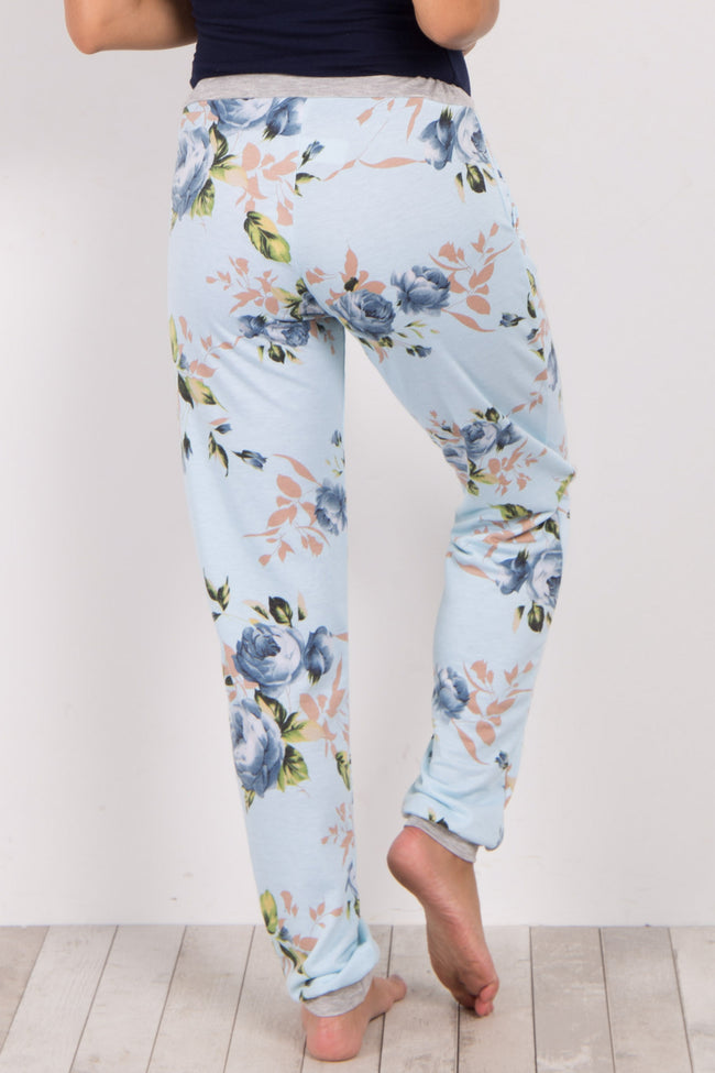 Blue Floral Cuffed Maternity Pajama Pants
