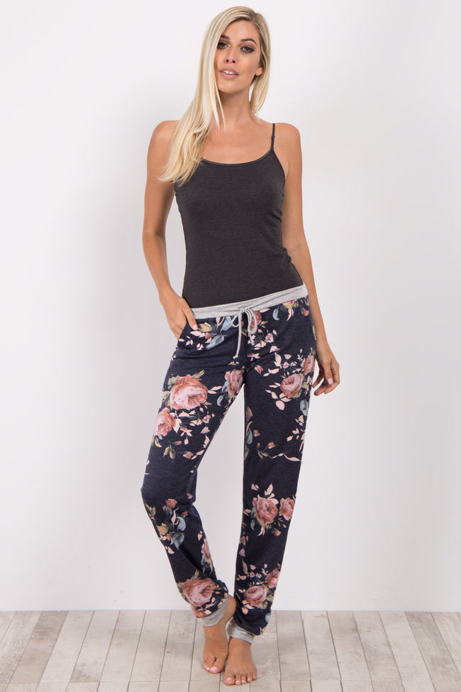 Navy Floral Cuffed Pajama Pants