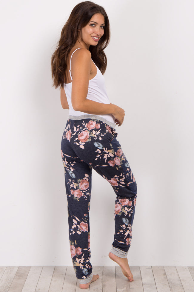 Navy Floral Cuffed Maternity Pajama Pants