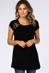 Black Lace Cutout Maternity Top