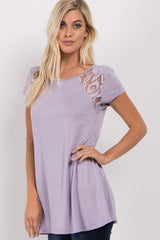 Lavender Lace Cutout Top