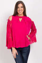 Fuchsia Cutout Lace Sleeve Maternity Top