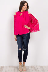 Fuchsia Cutout Lace Sleeve Top