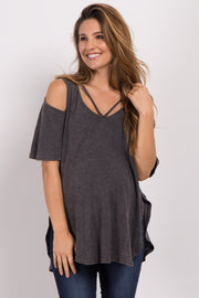 Charcoal Grey Ribbed Cold Shoulder Maternity Top