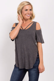 Charcoal Grey Ribbed Cold Shoulder Top